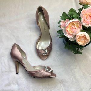 Caparros rose pink peep toe heels pumps formal 9m